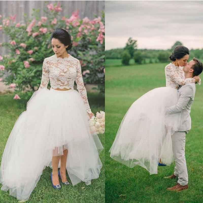 Modest Wedding Gowns: Rustic 2 Pieces High Low Bridal Dress Long Sleeves Lace