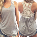 2016 new summer women grey lace howllow out tank top female tops B0084