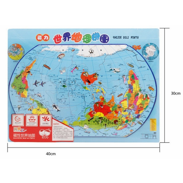 mwz wooden magnetic puzzles toys chinese version the world map puzzle map of china jigsaw double