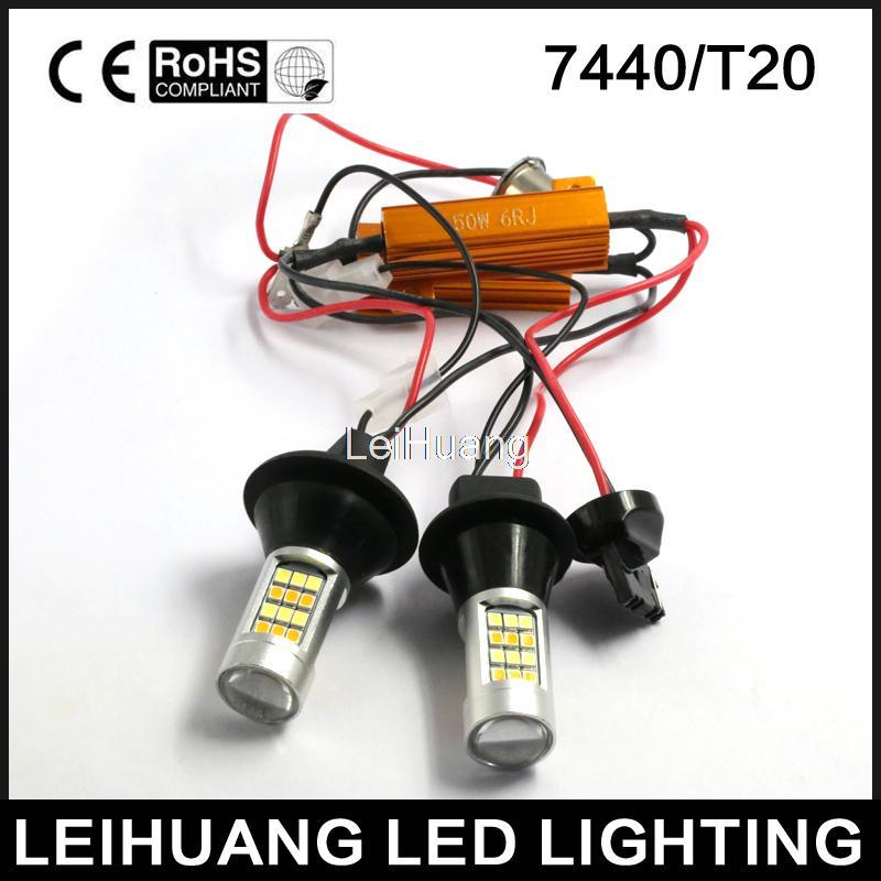 2pcs 7440 T20 Dual-Color Switchback LED DRL Turn Signal Light Kit free shipping