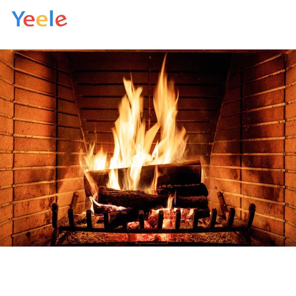 Yeele Brick Fireplace Burning Fire Winter Christmas Photography Backgrounds Photographic Customized Backdrops for Photo Studio
