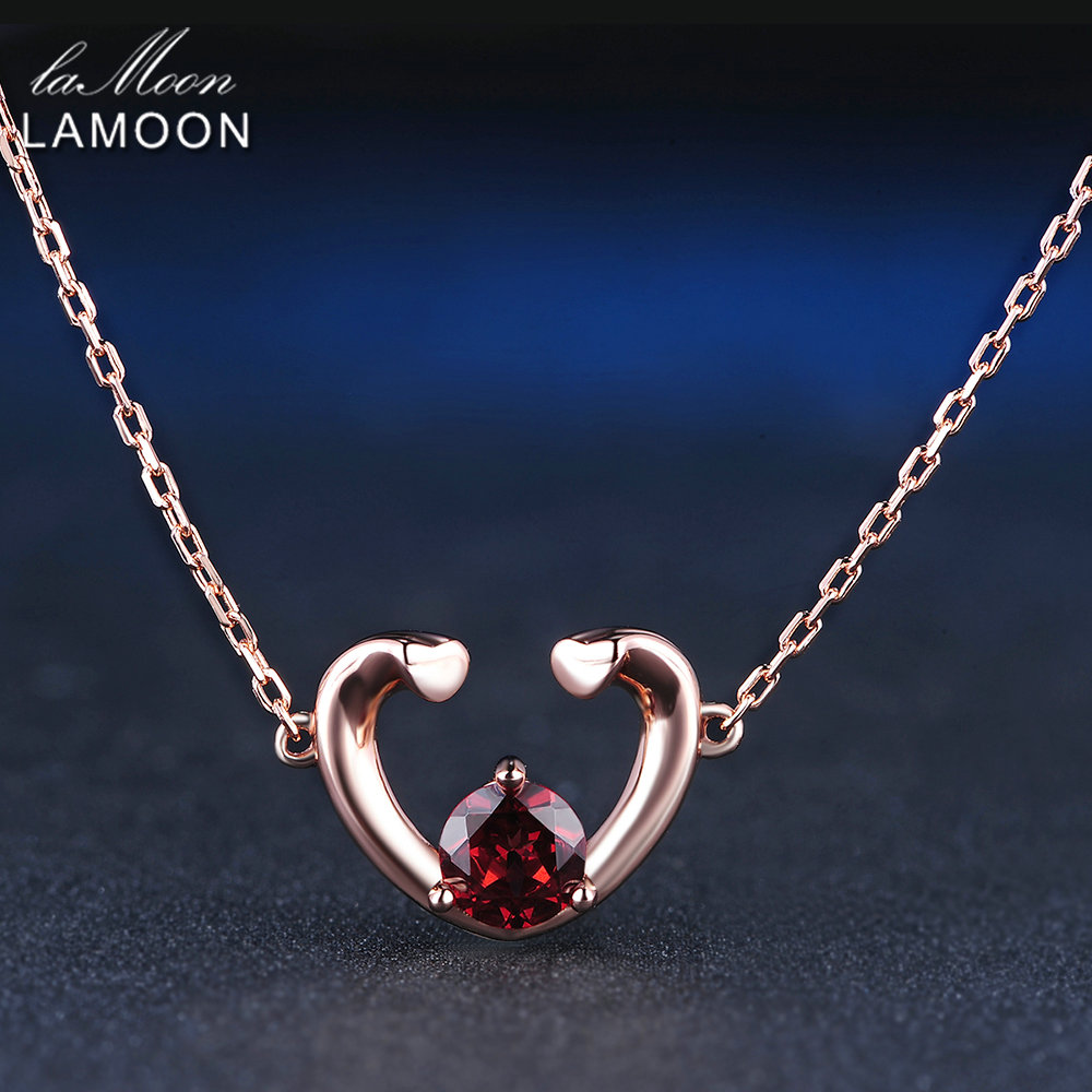 LAMOON 2 Hearts 5mm 0.6ct 100% Natural Red Garnet 925 Sterling Silver Jewelry  Chain Pendant Necklace S925 LMNI005