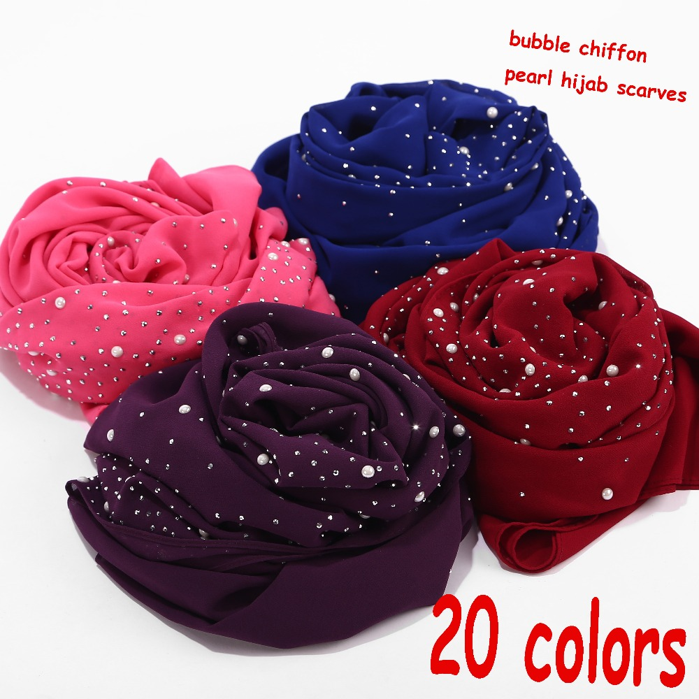 Pearl Scarf Bubbles Chiffon Scarf With Diamond Studs Scarf Plain Hijab Shawls Wraps Solid Color Muslim Hijab Scarf 1 Pc