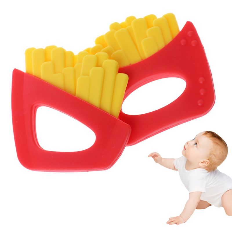 Baby Teether Fries Shaped Pacifier Food Grade Silicone Teething Nursing Massage