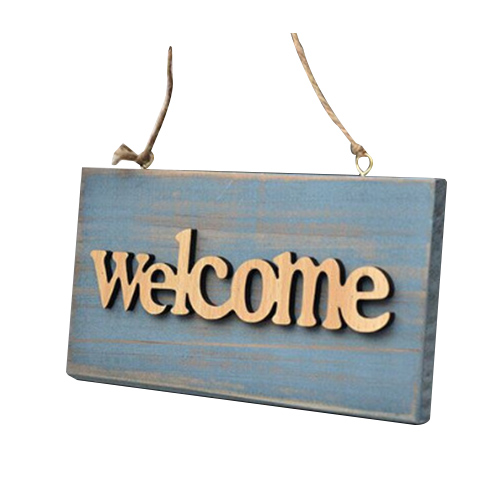 Vintage Wooden Open Closed Welcome Sign Plaque Blue Cafe Shop Door Hanging Sign Sign Type:Welcome