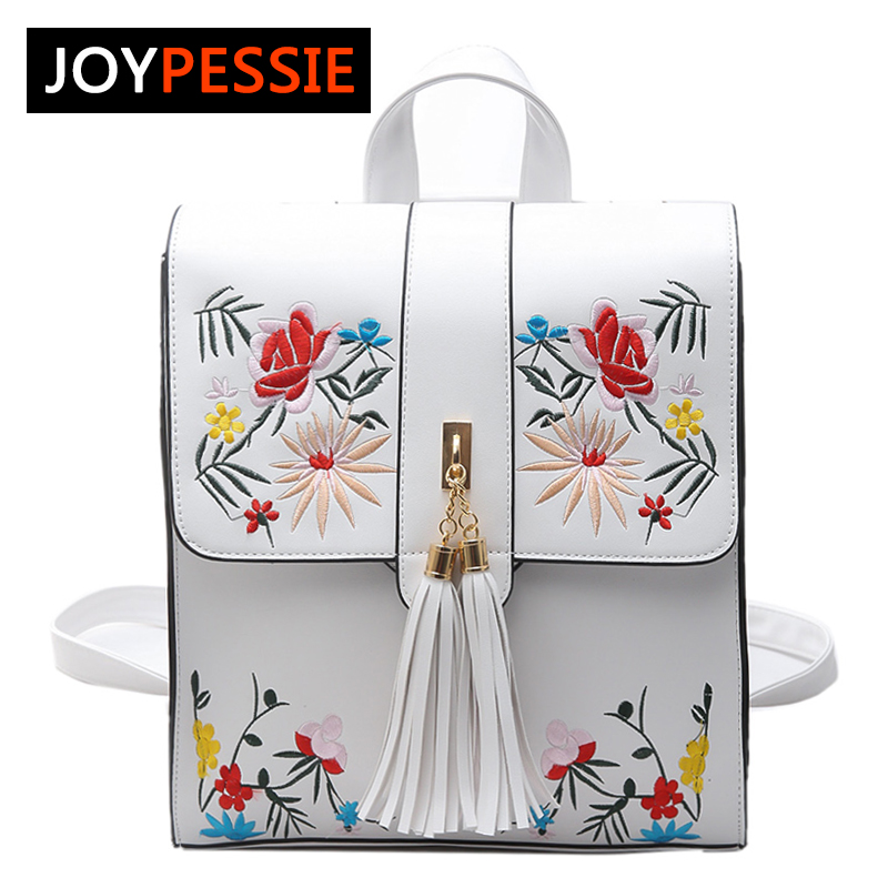 Joypessie New Fashion Women Backpack PU Embroidery Tassel Backpack School Bag For Girls Casual Lady Shoulder Bag Backpack 2017 new fashion women backpack pu leather girls school bag women casual style shoulder bag backpack for girls backpack