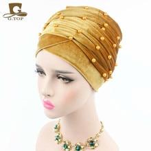 New Luxury Woman Velvet Turban Headband Beaded Studded Pearled Extra Long Velvet Turban Head Wraps Hijab Head Scarf
