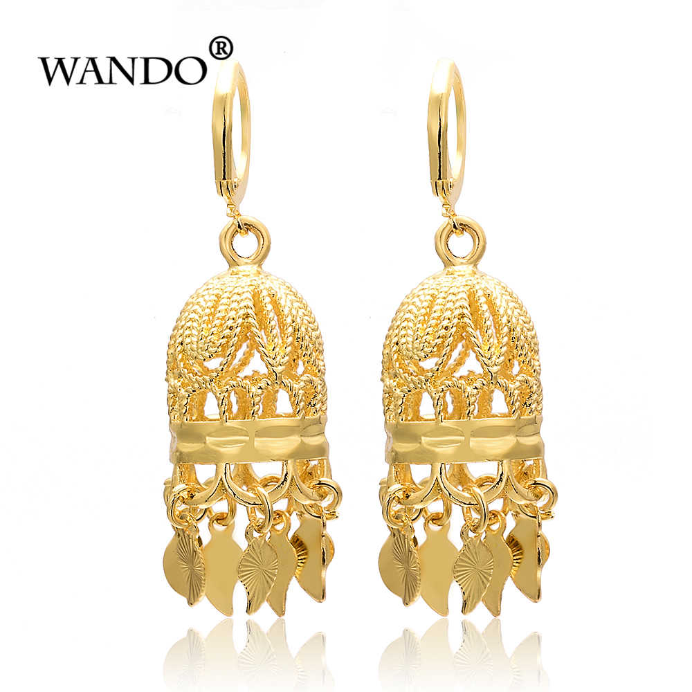 WANDO India Antique Gold colour Birdcage Earrings Classic Tribal Jewelry Middle East Egypt Pakistan Thailand bride Wedding gifts