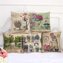 Vintage Style Potted Plant Flower Printed Retro Throw Pillow Seat Cushion Cover Case Plant 45x45cm Sofa