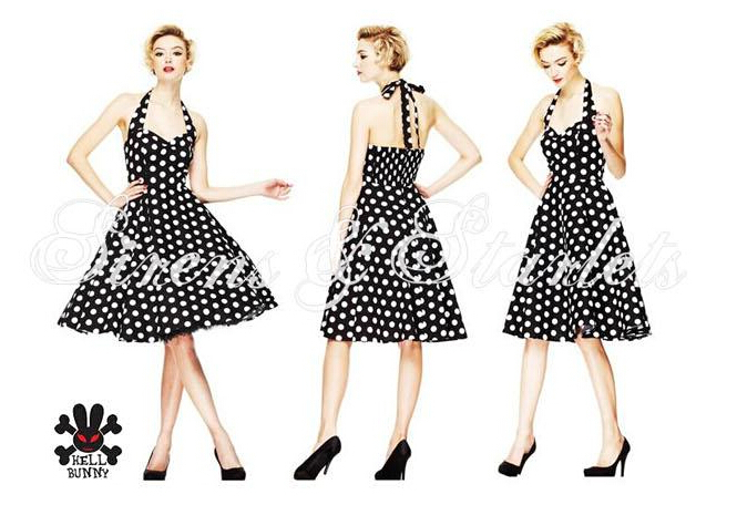Aliexpress.com Acheter D\u0027été de Style rétro Audrey Hepburn robes femme  Vintage 60 s 50 s robe Big Swing Polka Dot Backless Rockabilly robe Plus  taille de