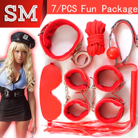 Winter SM Fun Game 7 Pcs/Set Handcuff Nipple Clamps Whip Collar Erotic Toy Soft cotton Sex Bondage Restraint Sex Toy for Couples