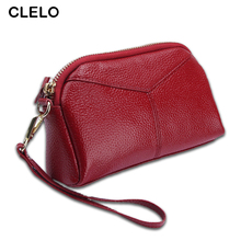 CLELO Bag Ladies 100% Genuine Leather Clutch Messenger Famous Brand Women Wallet Hand High Capacity