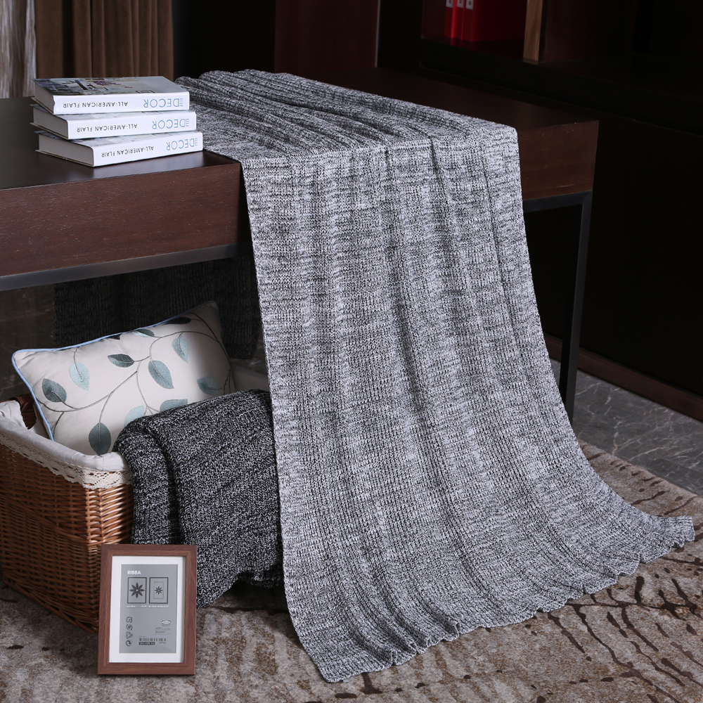 cotton knit throw blanket for bed vintage decorative sofa plaid travel nap office baby thread blanket - Decorative Throw Blankets