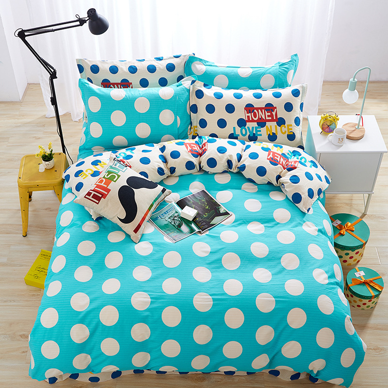 Green White Dot Pattern AB Health 100% Cotton Bedding Set Queen Size Quilt Duvet Cover Fitted Sheet Flat Pillow Shams Bed CoverGreen White Dot Pattern AB Health 100% Cotton Bedding Set Queen Size Quilt Duvet Cover Fitted Sheet Flat Pillow Shams Bed Cover