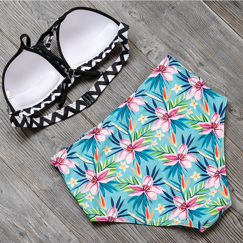 2017 New Bikinis High Waist Swimsuit Women  Push Up Swimwear Women Sexy Print Brazilian Bikini Set Beach Bathing Suits Swim Wear