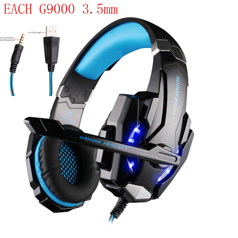 KOTION EACH G9000 3.5mm Game Gaming Headphone Headset Earphone Mic LED Light for Laptop Tablet / PS4 / Mobile Phones Pc Gamer