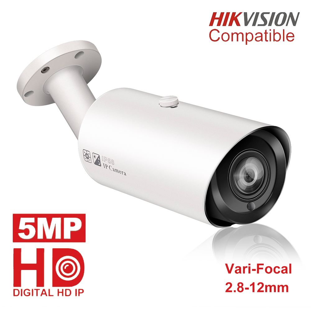 Hikvision Compatible 5MP PoE IP Camera Outdoor 4X Optical Zoom SD Card Slot IP66 Waterproof Bullet Video Surveillance Cameras