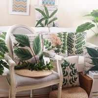 Rainforest Leaves Africa Linen Tropical Plants Flower Throw Pillow Case Chair Sofa Cushion Cover