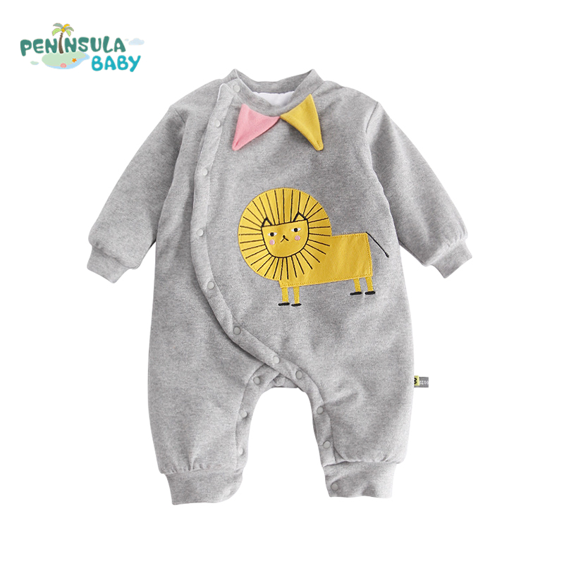 Baby Romper Cartoon Lion Elephant Print Baby Boys Girls Clothing Winter Warm Long Sleeve Cotton Infant Toddler Jumpsuit hurave infant clothing color stripes cotton knit long sleeve jumpsuit velvet baby romper new born baby boys and girls clothes