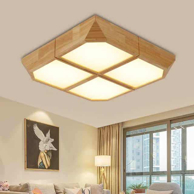 Japanese wooden ceiling lights square intelligent lamps and japanese wooden ceiling lights square intelligent lamps and lanterns bedroom sitting room wedding room study room mozeypictures Choice Image