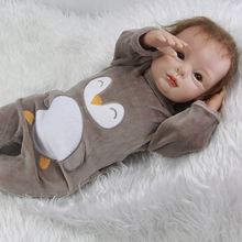 Handmade Lifelike Newborn Baby Boy 22 Inch Newborn Silicone Babies Dolls With Penguin Clothes Kids Birthday Christmas Gift