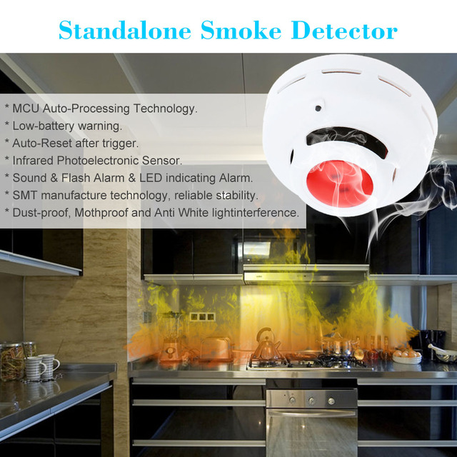 High Sensitive Standalone Photoelectric Smoke Detector Alarm Sensor MCU Technology Fire Alarm Security System
