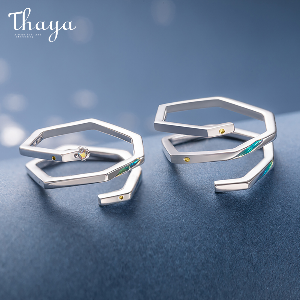 Thaya High Quality S925 Sterling Silver Geometric Shape Nebula Design Rings  Jewelry Couple Ring For Wedding Engagement Gift