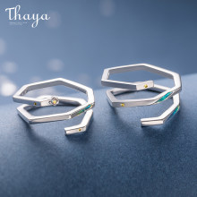 Thaya High Quality S925 Sterling Silver Geometric Shape Nebula Design Rings Jewelry Couple Ring For Wedding Engagement Gift(China)