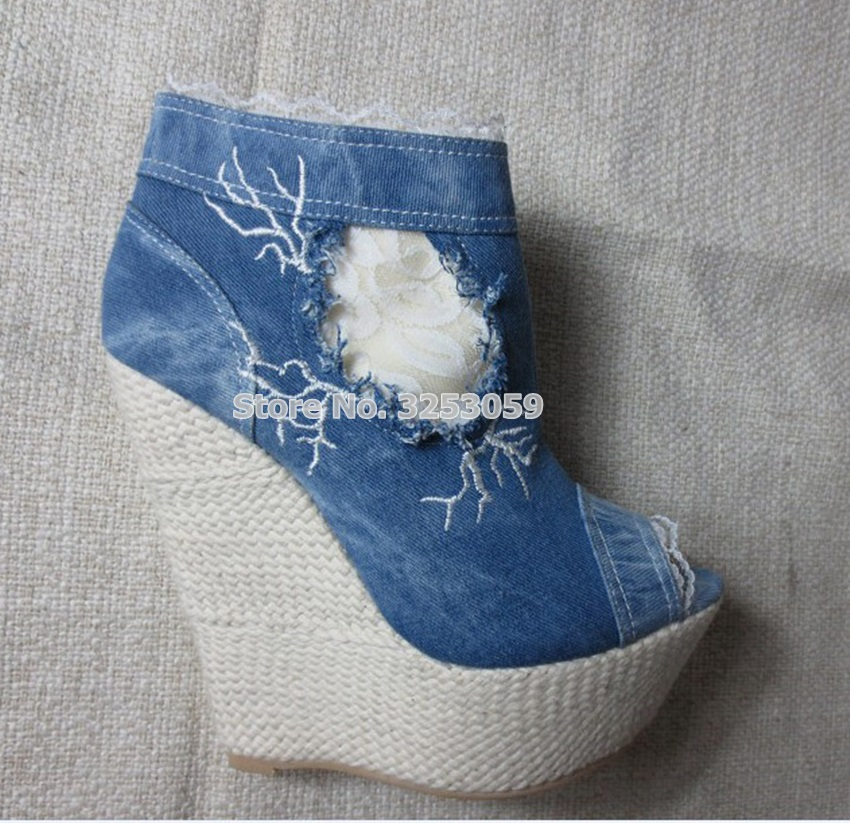 ALMUDENA Real Photo Blue Denim Lace Flowers Dress Boots Wedge Heel Embroidered Floral Ankle Boots Patchwork Handmade Booties denim embroidered wedge shoes