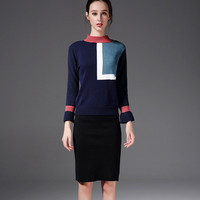 Autumn Winter Women's Two Pieces Outfits O Neck Splicing Sweater Tops and Black Package Hip Dress Set S XL