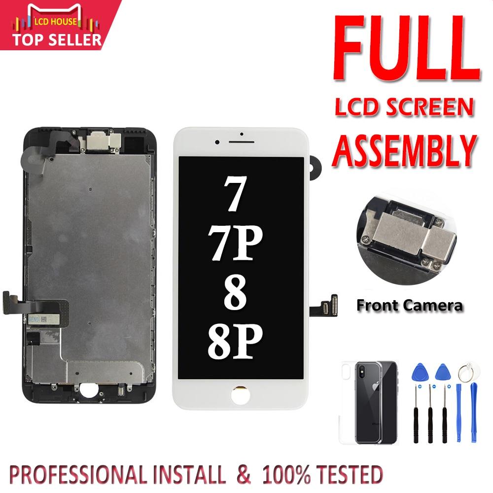 Aaa conjunto completo para iphone 7 8 plus 7 p 8 p display lcd tela de toque digitador assembléia substituição completa 100% testado câmera frontal