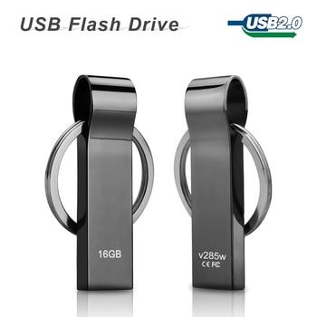 hot sale V285W Waterproof Metal USB Flash Drives pen drive 32GB 16GB 8GB Flash Drive with key ring free shipping