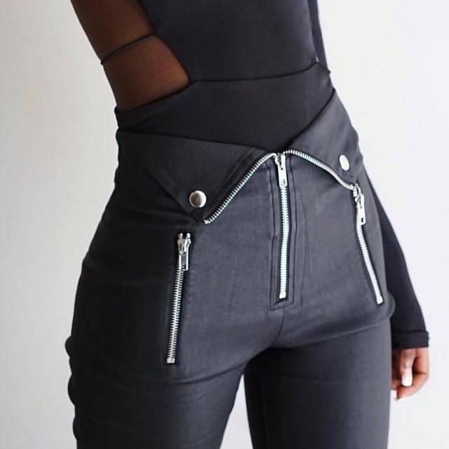 Gothic harajuku Grunge pants women zipper fold streetwear pencil casual Fashion pant black chic Summer long trousers Streetwear 1