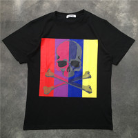 New Novelty 2019 Men Bones Skull Color stripe T Shirts T Shirt Hip Hop Skateboard Street Cotton T Shirts Tee Top kenye S XXL K26