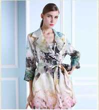 Hot Selling New Arrival Western Large Size Natural Silk Flower Ink And Wash Painting Medium Vintage Women Long Trench Coat H3972