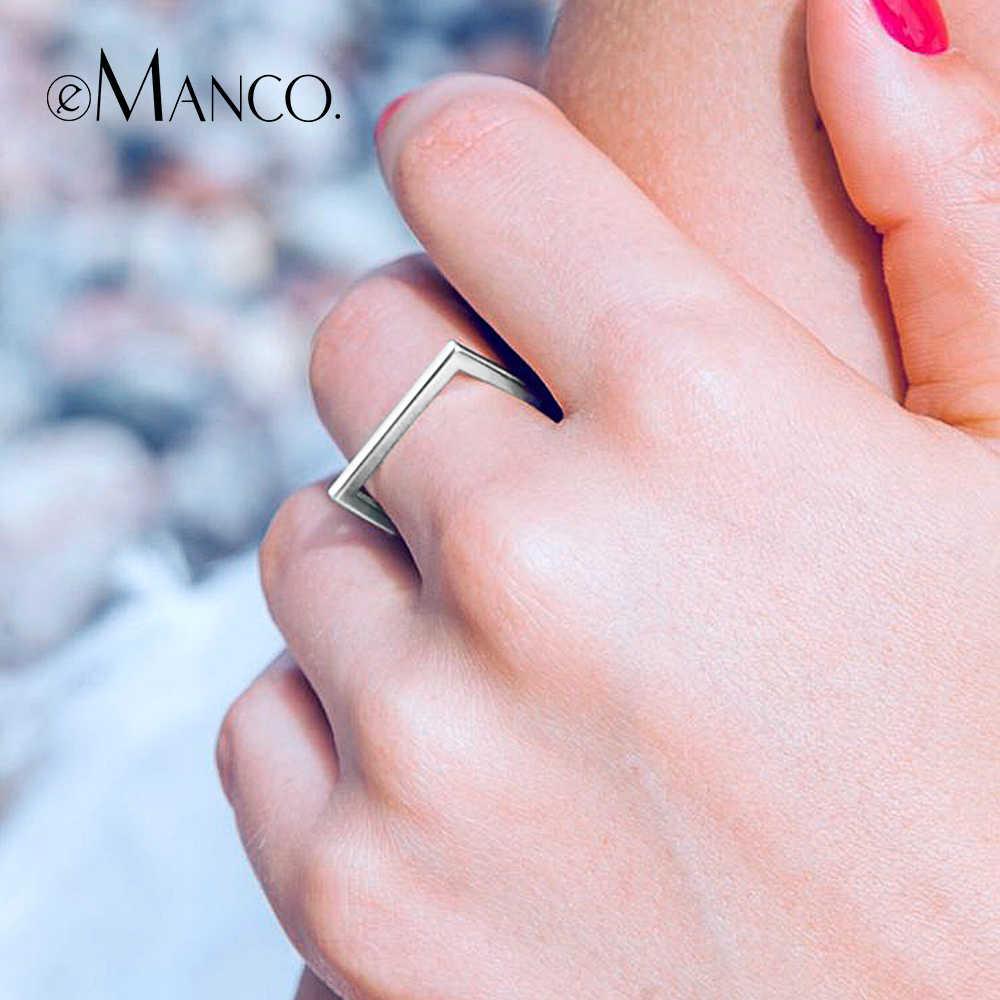 E-Manco 925 เงินสเตอร์ลิงสตรีแหวนเรขาคณิตอินเทรนด์สไตล์ Minimalist Skeleton Classic แหวนเงินเครื่องประดับ