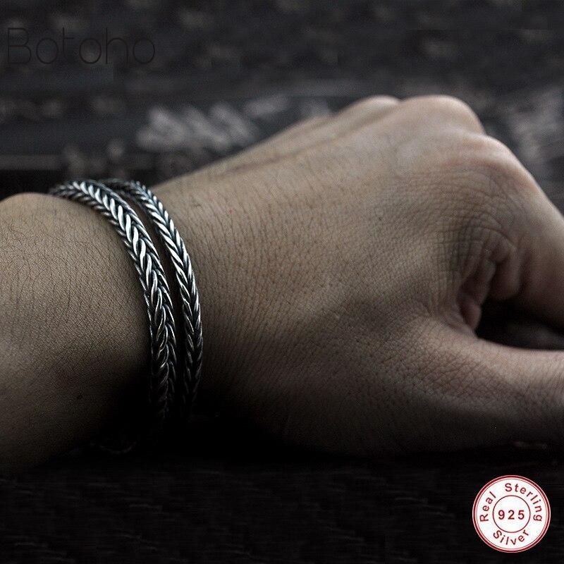 100% 925 Silver Bracelet Width 5mm Classic Wire Rope Chain S925 Thai Silver Bracelet Women Men's Jewelry Gift Charm bracelet simple thai silver bracelet rope knot bracelet s925 sterling silver jewelry for women