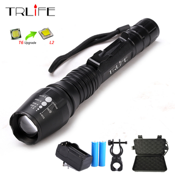 12000LM L2 T6 LED Rechargeable Flashlight Torch Light Zoomable Focus Flashlight Tactical Lamp + 18650 Battery + Charger