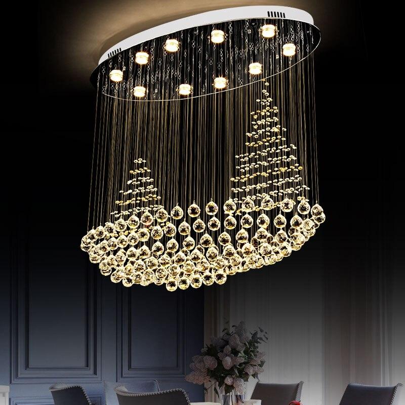 New 2019 Boat Shape Crystal Chandelier Light Fixtures Modern Lamp For Living Room Indoor Decoration Ceiling L100 W50 H90cm