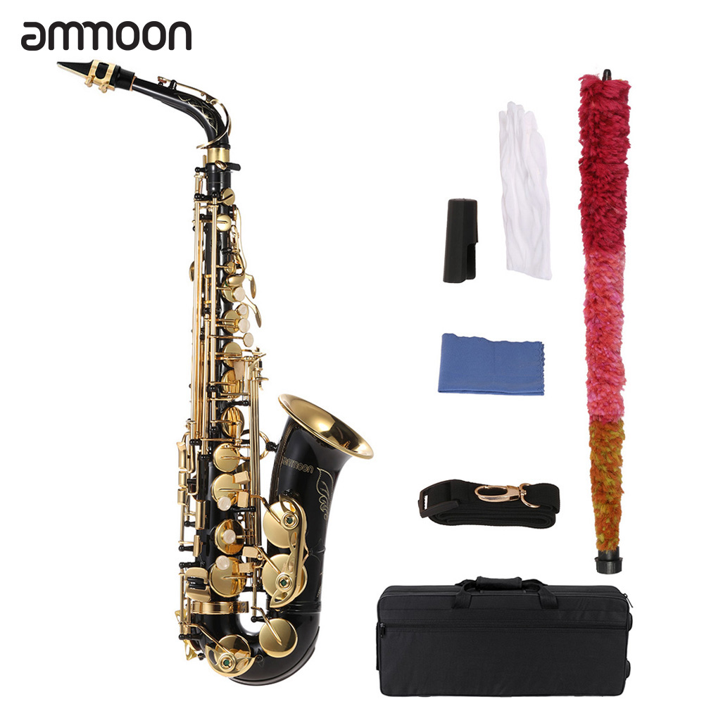 ammoon bE Alto Saxphone 82Z Key Type E Flat Sax Brass Woodwind Instrument with Clean Brush