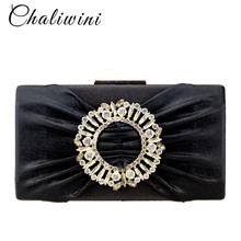 Chaliwini new style Small square bags womens purse with blue Gem stone and diamond pattern evening women shoulder clutch bag