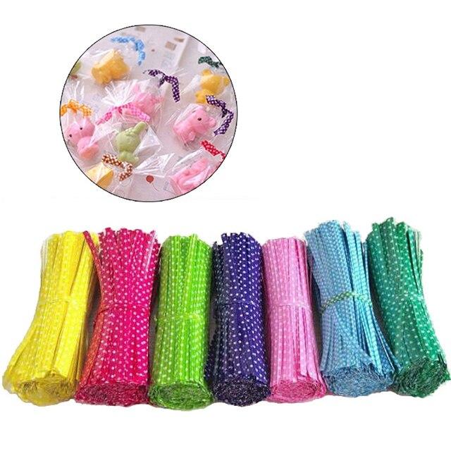 Bộ 100 9 cm Dây Kim Loại Xoắn Quan Hệ Cho CELLO Túi Kẹo Thép Làm Bánh Bao Bì Thắt Lollipop Món Tráng Miệng Niêm Phong Xoắn tie8A1023