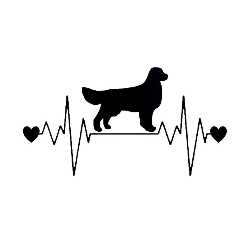 20 3 10 8cm Golden Retriever Heartbeat Lifeline Vinyl