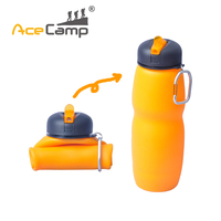 Portable Outdoor 650ml Multifunctional Foldable Silicone Foldable Soft Water Bottle With Carabiner Handle Free Shipping