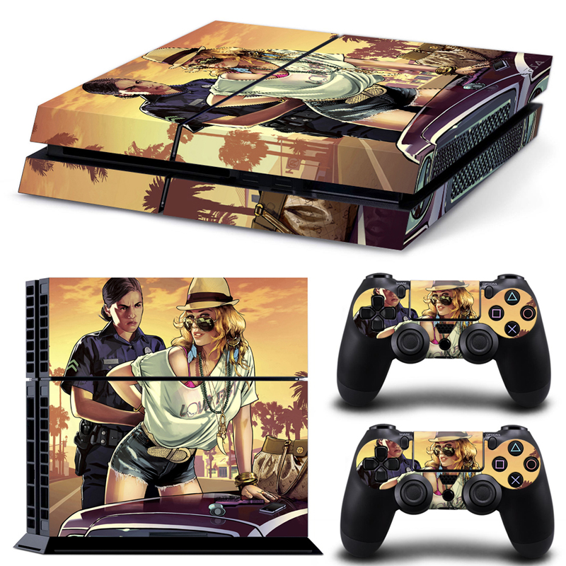 Grand Theft Auto V 5 GTA V 5 for ps4 Skin Stickers For Playstation 4 PS4 Console 2 Pcs Vinyl decal Skin Stickers For Controller