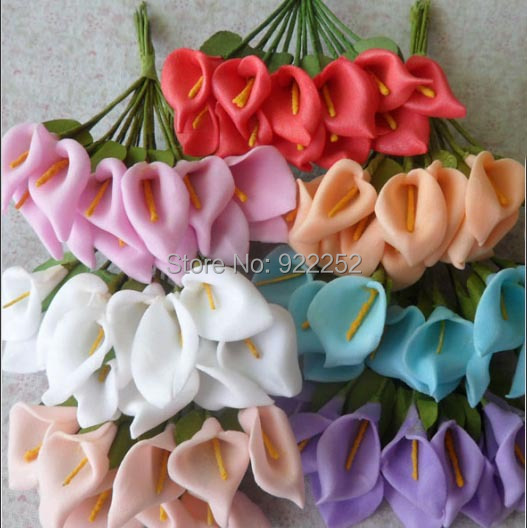 1.5CM artificial foam flower cheap mini calla lily bouquet,diy craft for wedding party decoration boutonniere&hair garland&Box!