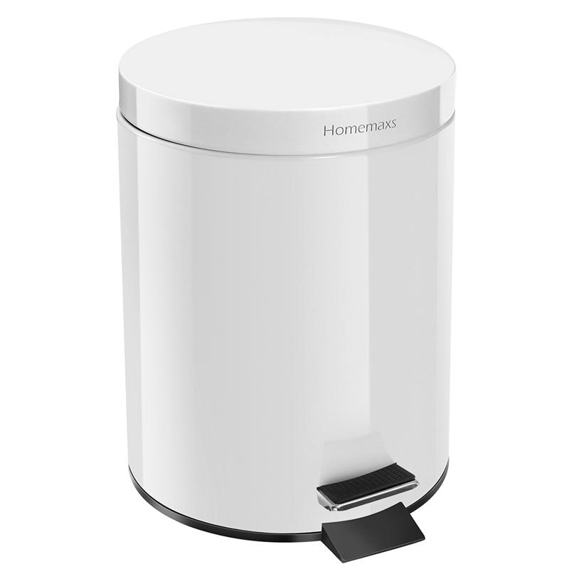 LUOEM 5 L/ 1.32 Gallon Round Stainless Steel Step Trash Can Trash Bin Soft Close Garbage Can with Removable Inner Bucket (White)