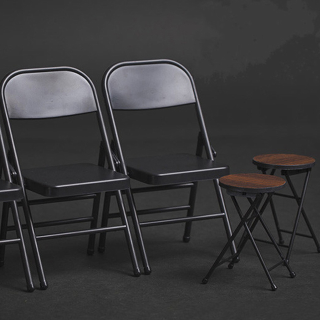2018 New Folding Circle Chair Furniture For 1 / 6 Soldier Fashion Square  Chair For BJD
