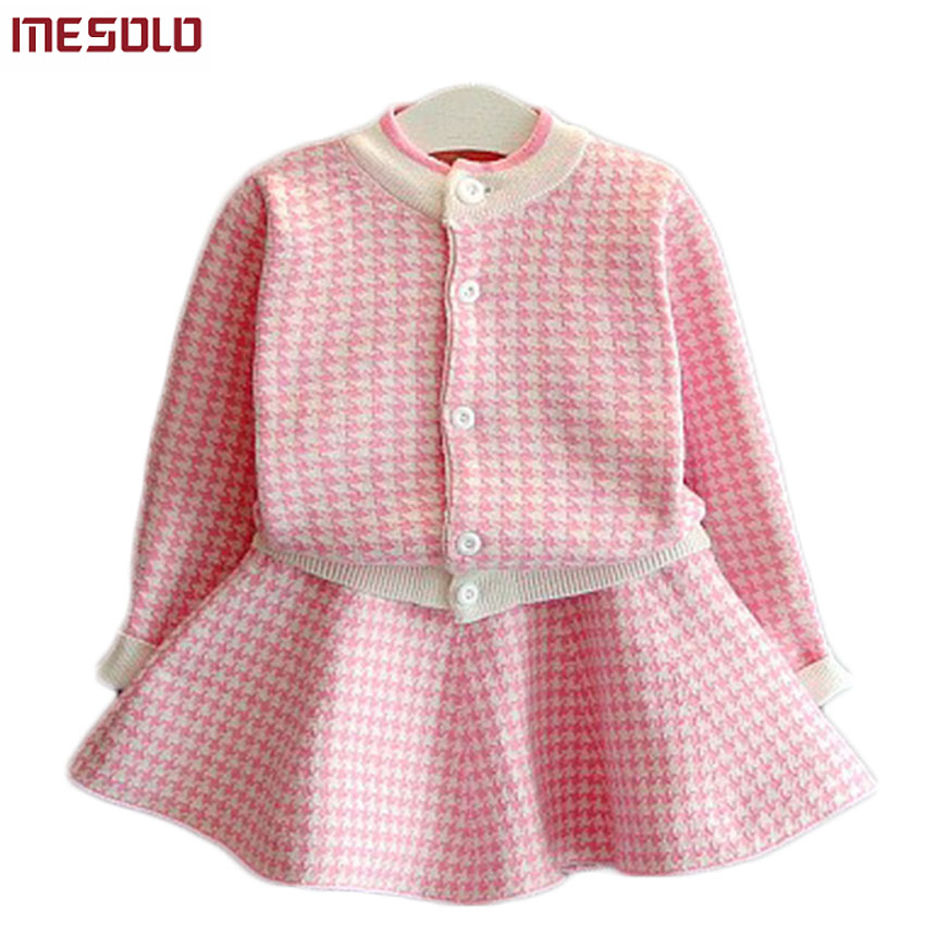 Girls Clothing Sets Kids Houndstooth Knitted Suits Long Sleeve Plaid Jackets+Skirts 2Pcs for Kids Suits bear leader girls sets 2017 new autumn pink houndstooth knitted suits long sleeve plaid sweater skit 2pcs kids suits for 3 7y