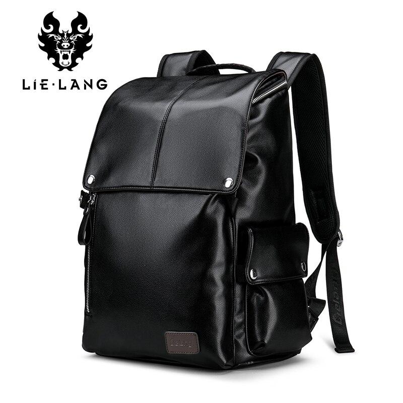Nouveau Designer sac à dos hommes PU cuir jeunes sacs à dos pour Teenger sacs d'école 2018 mode voyage Anti-vol sac à dos avec couverture